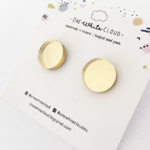 Gold Mirror Earrings by One White Cloud