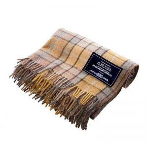 Gold   Recycled Wool Scottish Tartan Blanket