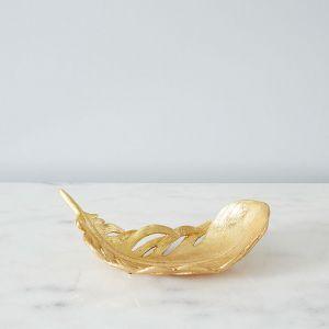 Golden Resin Leaf Platter