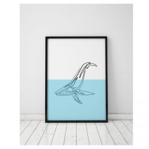 Great Blue | Whale Art Print | Framed or Unframed
