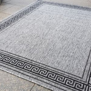 Grecian Key Seaspray Rug | Silver Grey