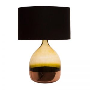 Green Copper Table Lamp with Black Shade by Shaynna Blaze