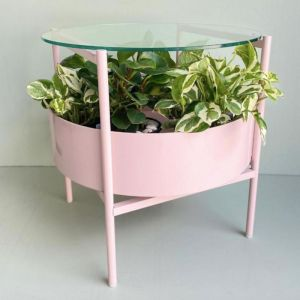 Green Glass Side Table | Dusty Pink