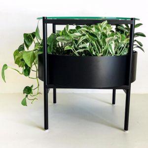 Green Glass Side Table| Matte Black