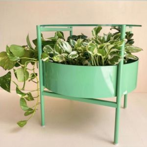 Green Glass Side Table | Spearmint