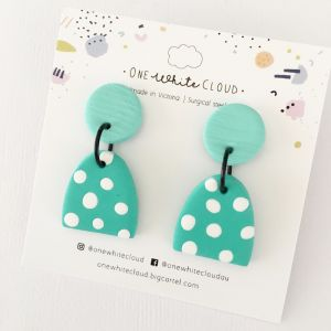 Green Spot Earrings by One White Cloud