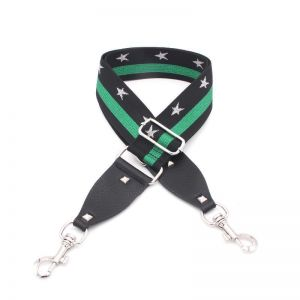 Green Stripe Star Bagstrap with Silver Clip