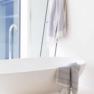 Grey and White Bath Mat   by Loom Towels