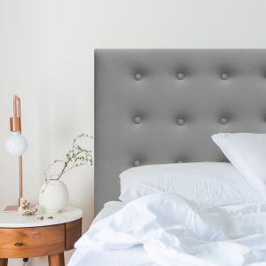 Grey Neutral Velvet Buttoned Upholstered Bedhead | All Sizes | Custom Made by Martini Furniture