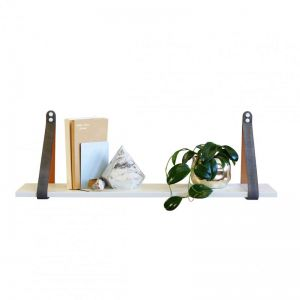 Grey Suede Leather Strap Shelf | White