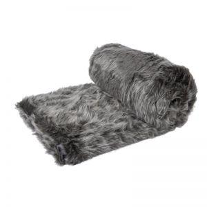 Grey Wolf Faux Fur Throw Rug 125x150cm