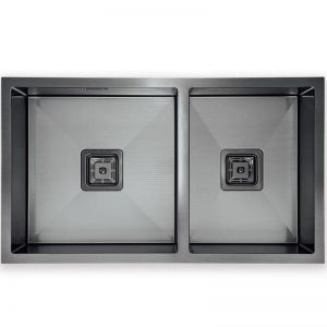 Hafele Squareline 1 & 3/4 Bowl Sink Linen | Two Finishes