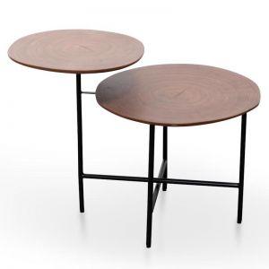 Hale Side Table - Walnut - Black Legs