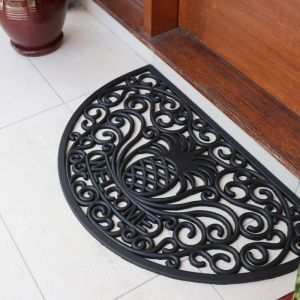 Half Moon Shaped Iron Gate With Pineapple | Door Mat | Pepperfry