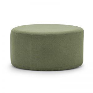 Halle Medium Round Ottoman Pouf   Moss Green