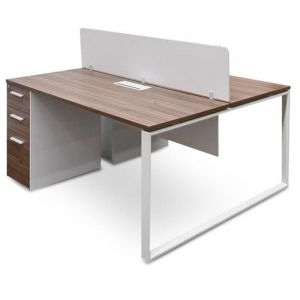 Halo 2 Seater Walnut Office Desk with Privacy Screen