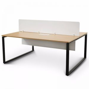 Halo 2 Seater Workstation with White Privacy Screen | Natural Top and Black Base