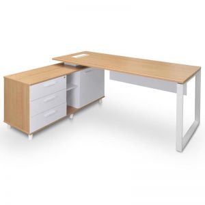 Halo Executive Office Desk With Left Return | Natural | 180cm
