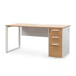Halo Office Desk | Natural and White