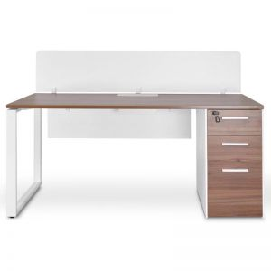 Halo Office Desk with Privacy Screen | Walnut