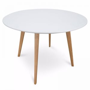 Halo Round Dining Table | 100cm | White with Natural Legs