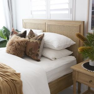 Hamilton Cane Bed | Queen Size | Low End | Weathered Oak