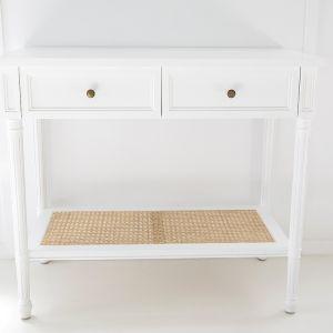 Hamilton Cane Console Table   White