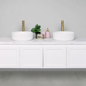 Hampton 40mm Solid Surface Top 1500 Double Bowl Wall Mount Vanity