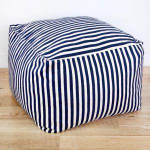 Hampton Ottoman | Navy & White Stripe | by Collective Sol