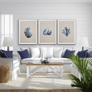 Hamptons Blue Coral On Linen| Three Piece Print Set