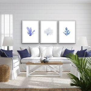 Hamptons Blue Coral | Three Piece Print Set