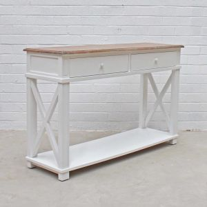 Hamptons Console | White / Weathered Oak Top