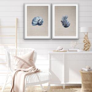 Hamptons Coral On Linen Print Set | Art or Canvas Prints