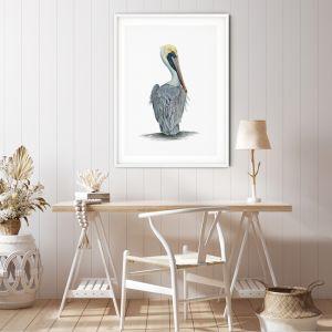 Hamptons Pelican | Wall Art or Canvas Print