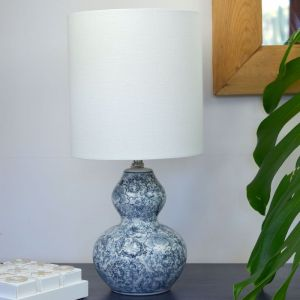 Hamptons Style Floral Blue China Table Lamp