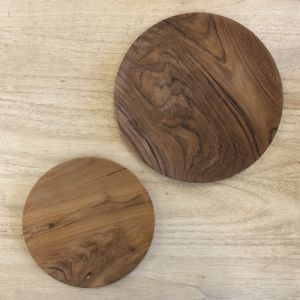 Hand Carved Teak Round Plate