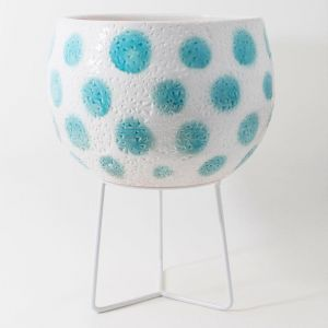 Hand-thrown Boulder Pot Large by Angus & Celeste   Teal Green