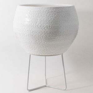 Hand-thrown Boulder Pot Large by Angus & Celeste | White
