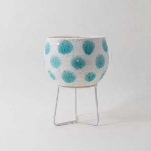 Hand-thrown Boulder Pot Small by Angus & Celeste | Teal Green Spots