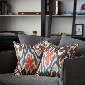 Hand Woven Cotton Ikat Cushion | Blue Heron