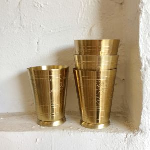 Handmade Brass Lassi Cup | Floral