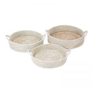 Handmade Decorative Mowdok Platter Trays | Set of 3 | Indoor Use Only