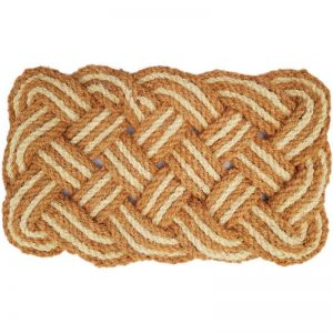 Handmade Knotted Rope Woven Coir Doormat | Natural and Ivory 45cm x 75cm | Pepperfry