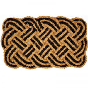 Handmade Knotted Rope Woven Coir Doormat-Natural | Black 45cm x 75cm | Pepperfry