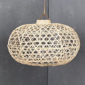 Handwoven Bamboo Short Lampshade in Whitewash l Pre Order