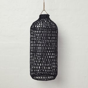 Handwoven Bamboo Tall Lampshade in Black l Pre Order