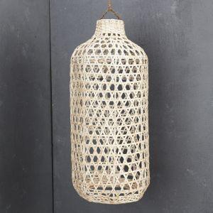Handwoven Bamboo Tall Lampshade in Whitewash