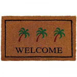 Handwoven Extra Thick Welcome With Palm Coir Doormat in Natural/Green and Black 45x75cm | Pepperfry