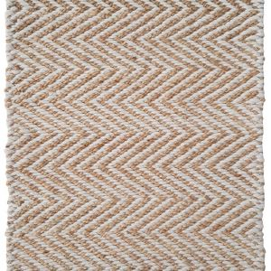 Handwoven Wavy Chevron Natural Jute and PET Rug