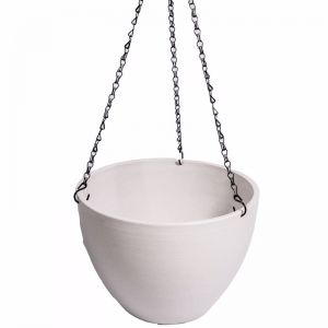 Hanging Rustic White Plastic Pot   With Chain   30cm